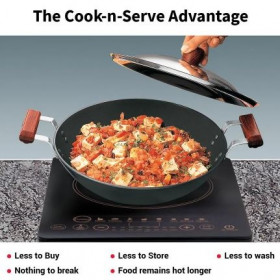 Hawkins Futura Hard Anodised Induction Compatible Deep Fry Pan / Kadai (Flat Bottom) With Stainless Steel Lid Capacity 2.5 Litre Black (IAD25S)