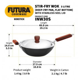 Hawkins Futura Nonstick on Hard Anodised Aluminum Stir Fry Wok Pan / Kadai with Steel Lid INW30S 3 L