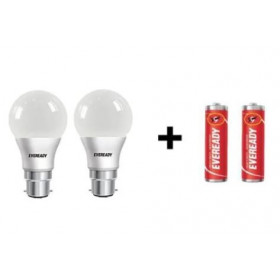 Eveready Combo LED Bulb 9W + 9W 2 Pc With Two AA Battery Free