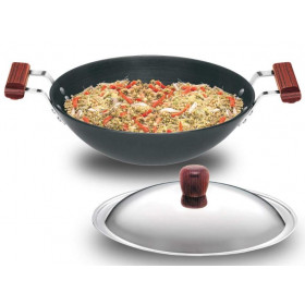 Hawkins Futura Hard Anodised Deep Fry Pan (Flat Bottom) With Stainless Steel Lid Capacity 3.75 Litre Black (AD375S)