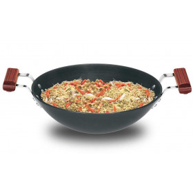 Hawkins Futura Hard Anodised Deep Fry Pan (Flat Bottom) Capacity 3.75 Litre Black (AD375)