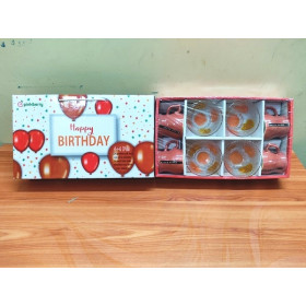 Pinkberry Happy Birthday Cup And Bowl Orange Set Of 8 Pc