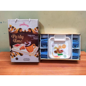 Pinkberry Party Time Cup And Tray Blue Set Of 5 Pc