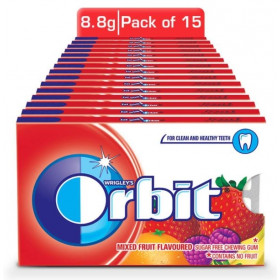 Orbit Mixed Fruit Flavoured Sugar Free Chewing Gum 8.8 g (Pack Of 15) Wholesale Pack