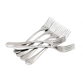 Stainless Steel Dinner Fork Spoon Set Silver Pack of 6
